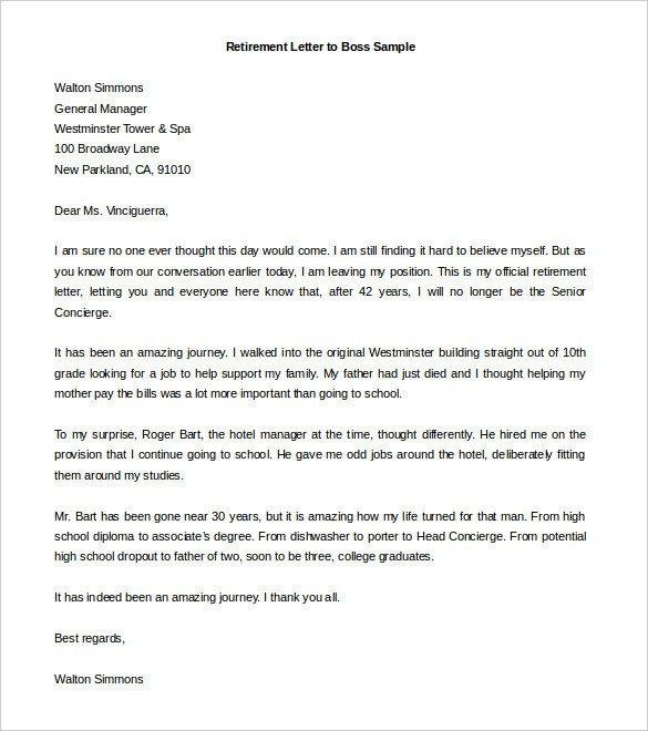 Retiring Letter Of Resignation Sample Retirement Letter