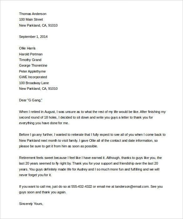 Retiring Letter Of Resignation Sample Retirement Letter Template