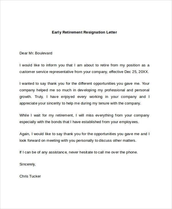 Retiring Letter Of Resignation Sample Retirement Resignation Letter 9 Documents In Pdf