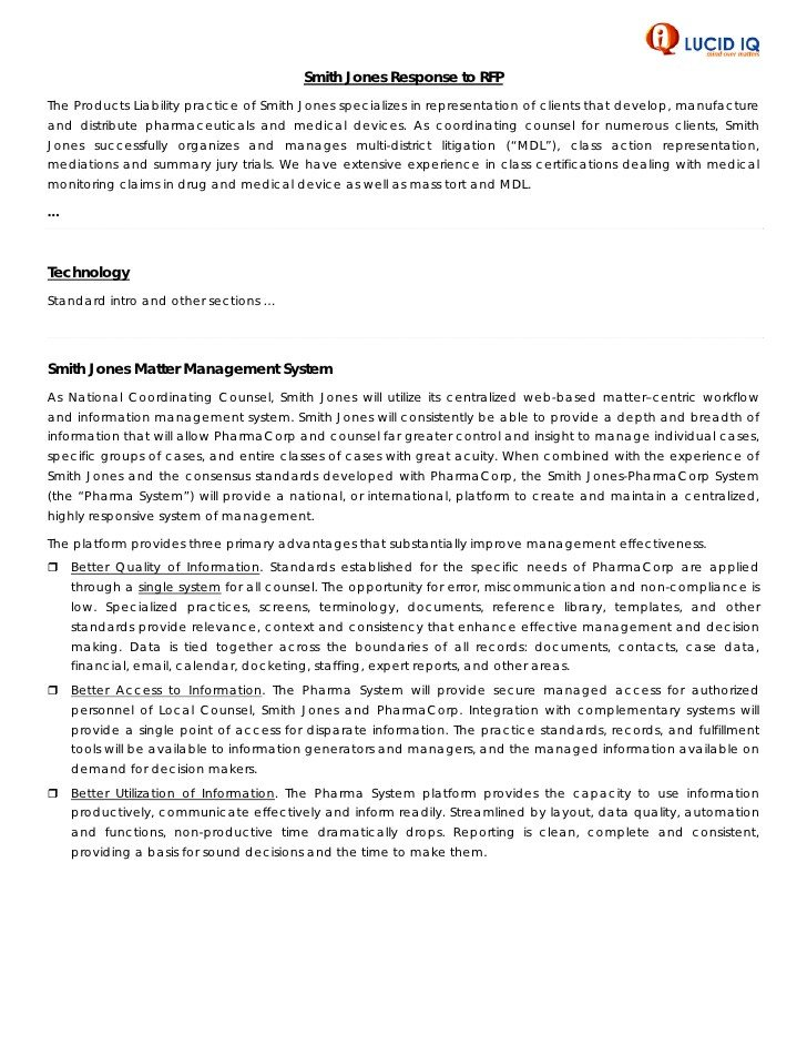 Rfp Response Template Information Technology Sample Rfp Response