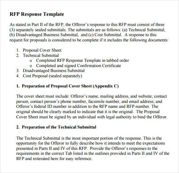 Rfp Response Template Information Technology Sample Rfp Response Template 8 Free Documents In Pdf