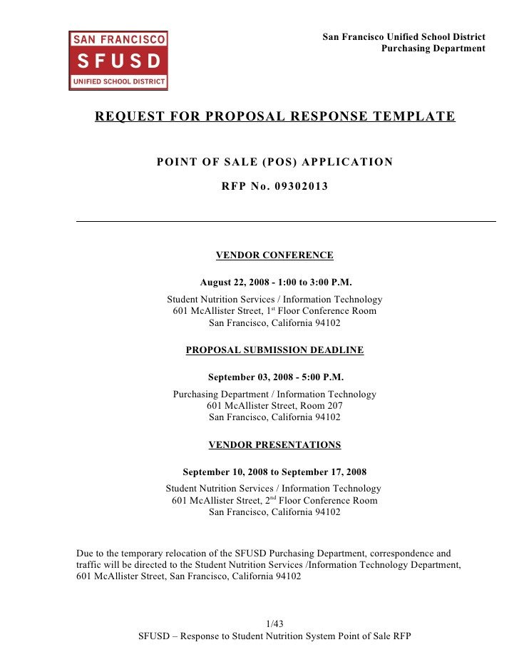 Rfp Response Template Information Technology Sns Pos System Rfp Response Template