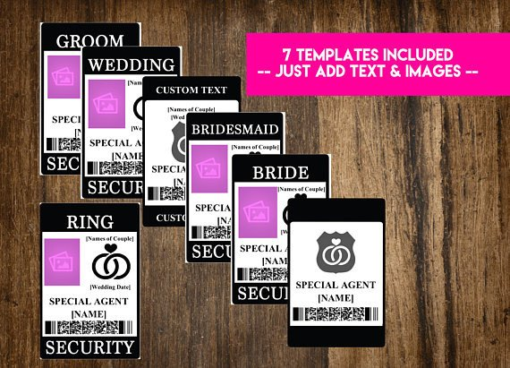 Ring Security Badge Template Instant Download Ring Security Badge Wedding Security Suite