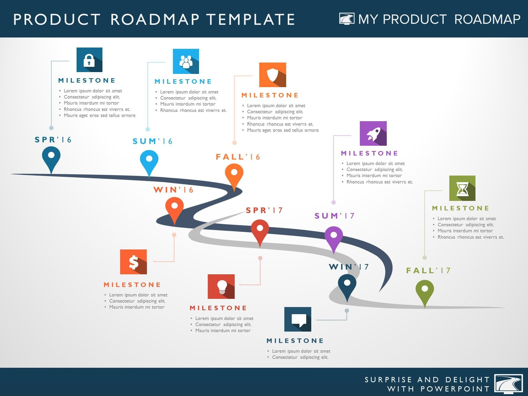 Roadmap Powerpoint Template Free Product Strategy Portfolio Management Development Cycle