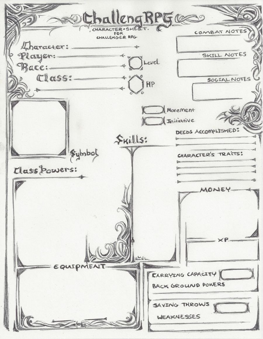 Roleplay Character Sheet Template Challenger Rpg Character Sheet Old Version