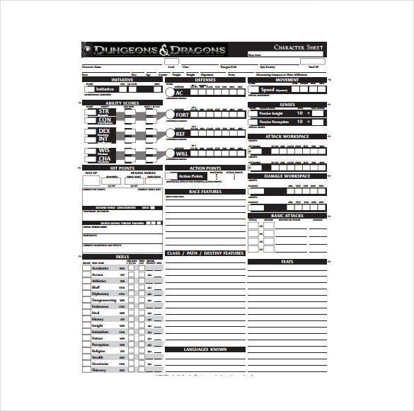 Roleplay Character Sheet Template Character Sheet Template 8 Free Pdf Documents Download