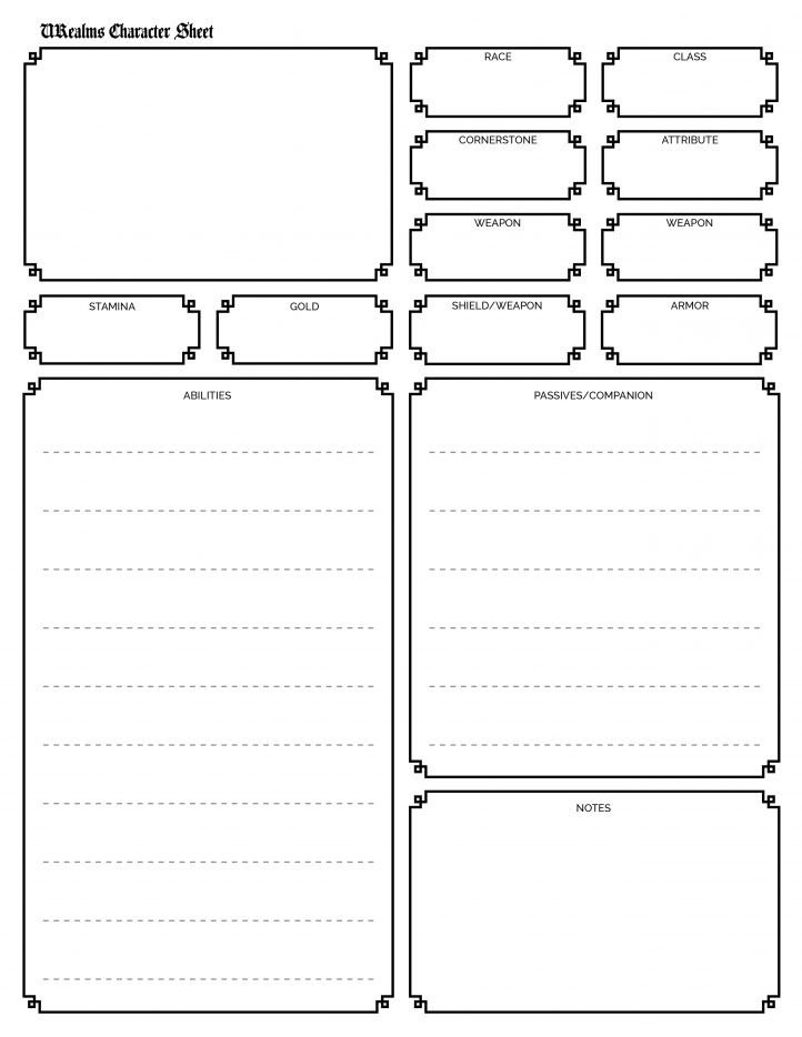 Roleplay Character Sheet Template Character Sheet Template