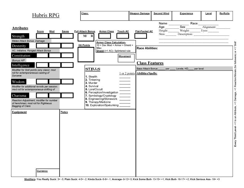 Roleplay Character Sheet Template Hubris Character Sheet