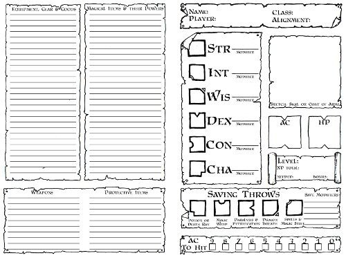 Rpg Character Sheet Template Character Sheets