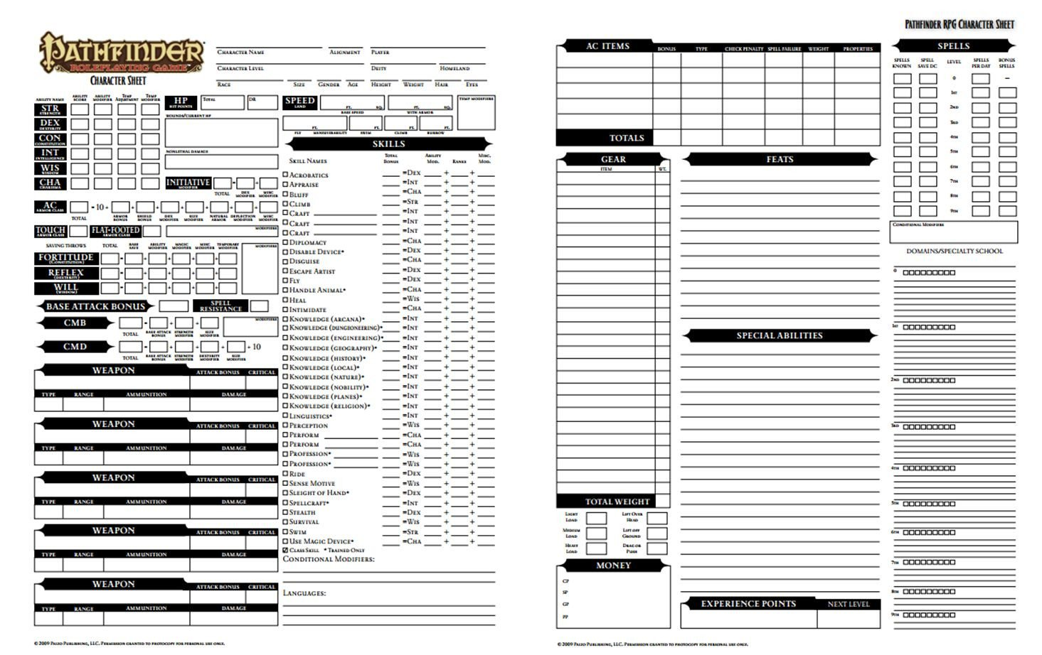 Rpg Character Sheet Template Pathfinder Character Sheet