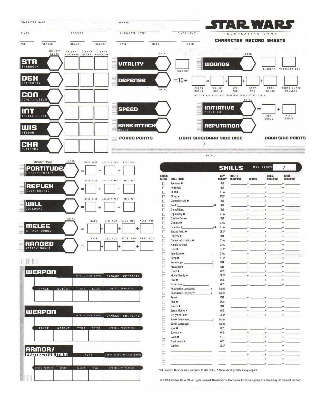 Rpg Character Sheet Template Rpg Sheets