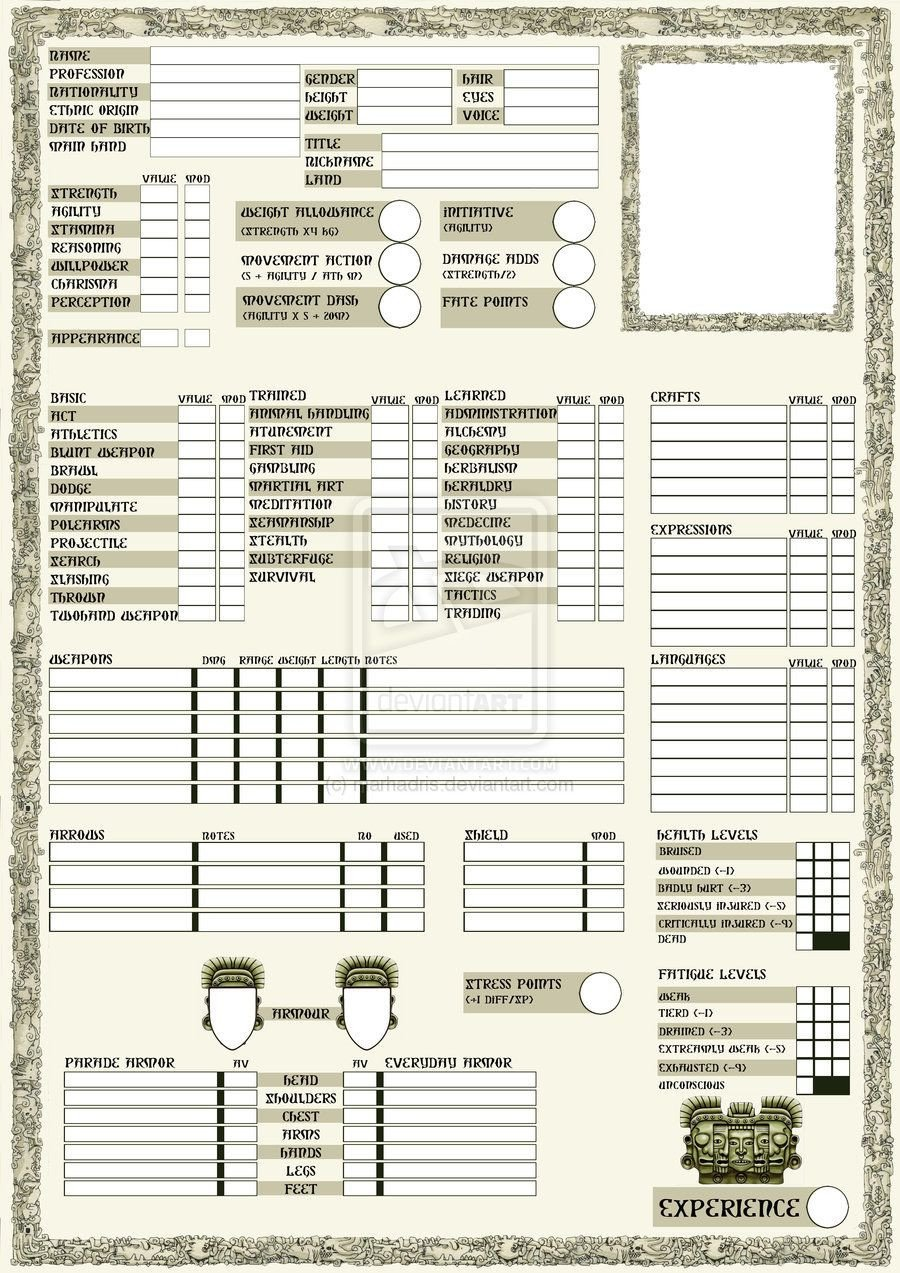 Rpg Character Sheet Template Rpg Sheets Rpg Character Sheet Page 1 by Marhadris