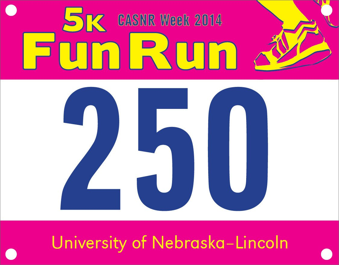 Running Bib Template Race Bib Pick Up for Casnr Fun Run is Wednesday Friday