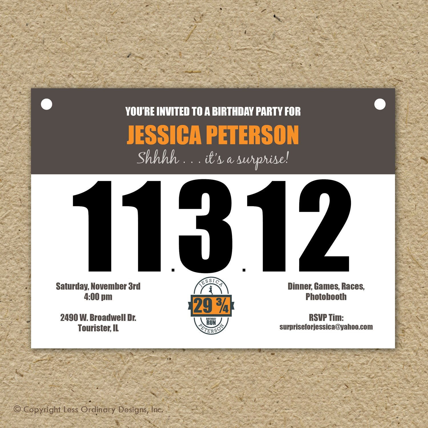 Running Bib Template Runner S Bib Birthday Party Invitation Marathon theme