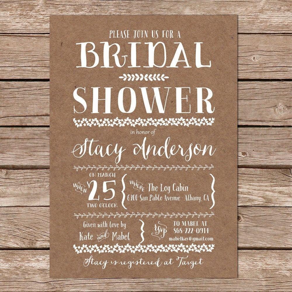 Rustic Wedding Invitation Background Bridal Shower Invitation Kraft Paper Background Diy
