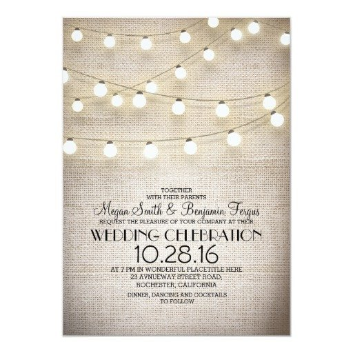 Rustic Wedding Invitation Background Burlap Lace & String Lights Rustic Wedding Invites