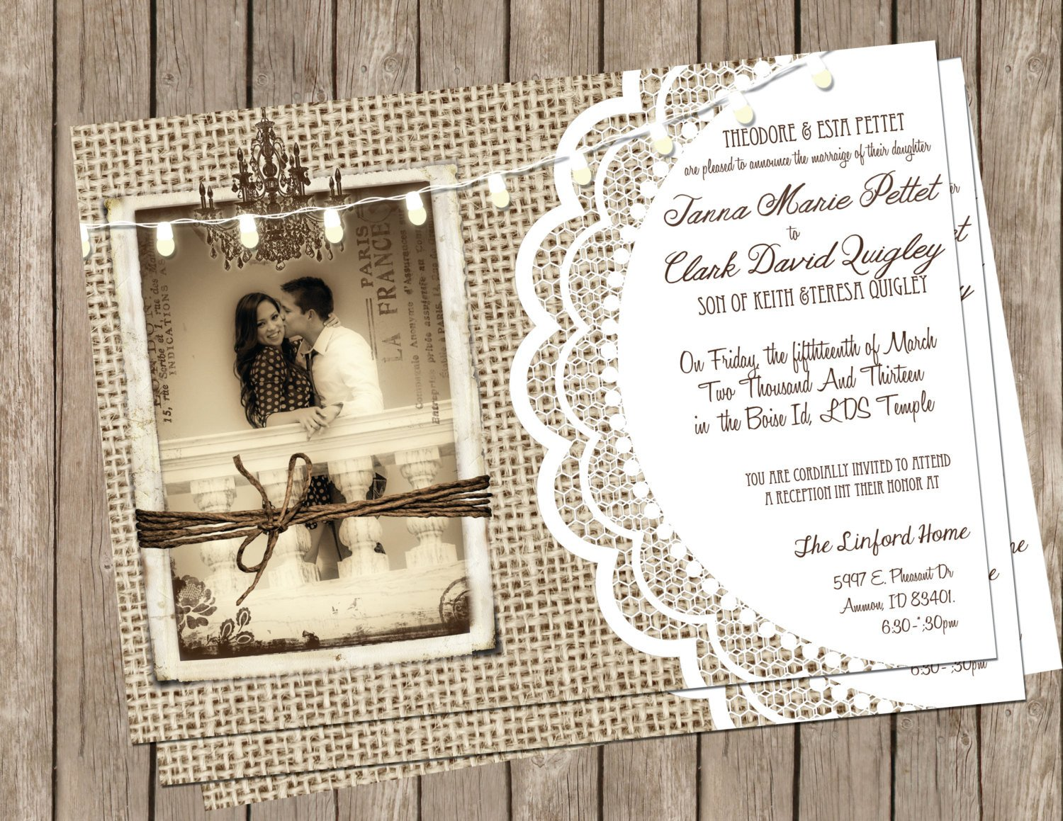Rustic Wedding Invitation Background Chandeliers & Pendant Lights