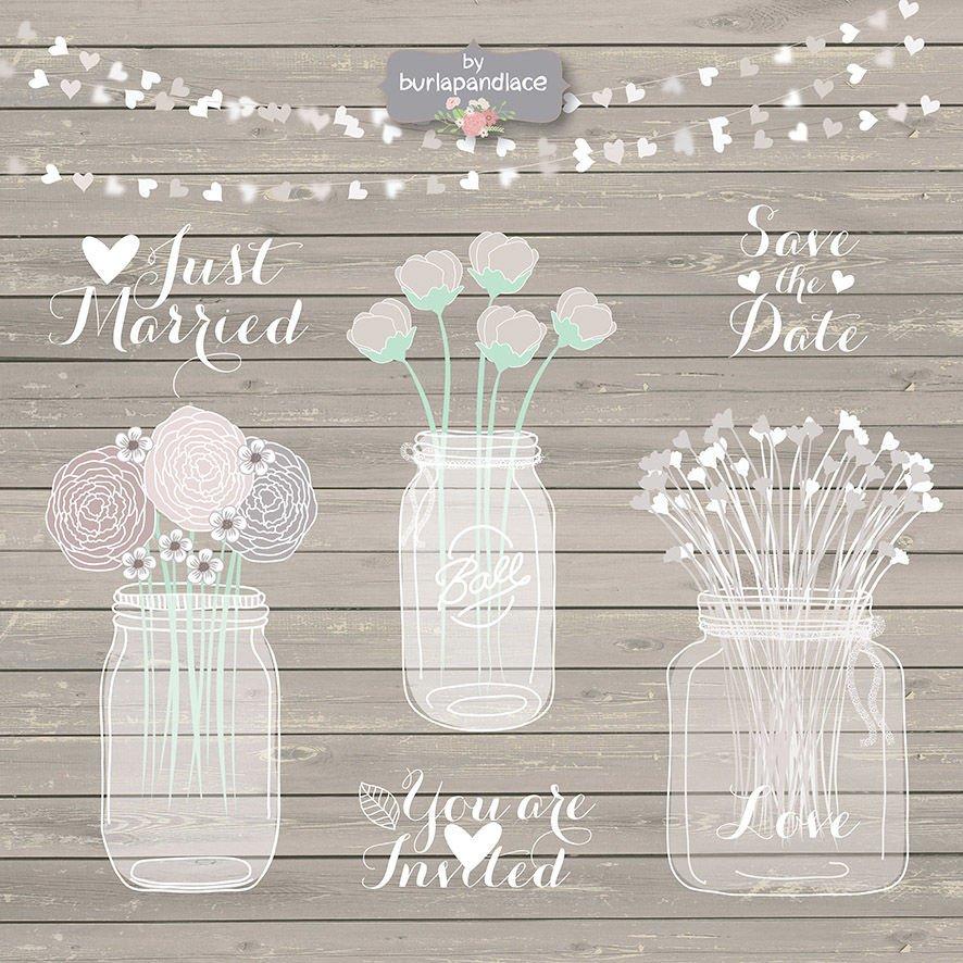 Rustic Wedding Invitation Background Hand Draw Mason Jar Wedding Invitation Clipart Rustic
