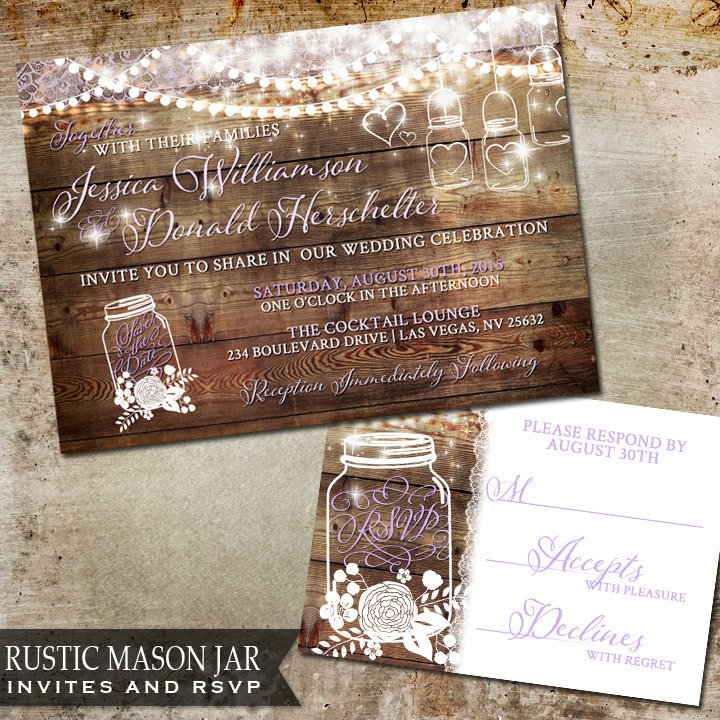 Rustic Wedding Invitation Background Mason Jar Wedding Invitation Rustic Wedding by Oddlotpaperie
