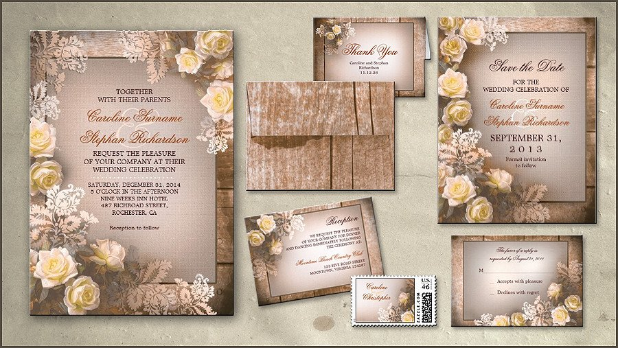 Rustic Wedding Invitation Background Read More – Rustic Roses Wedding Invitation