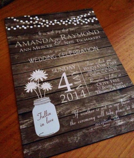Rustic Wedding Invitation Background Rustic Country Mason Jar Fall Wood Background Wedding