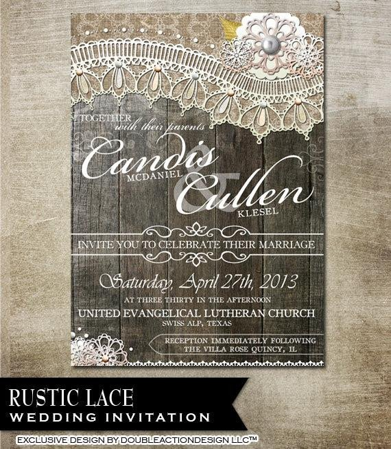 Rustic Wedding Invitation Background Rustic Lace Wedding Invitation Diy Wedding by Oddlotpaperie