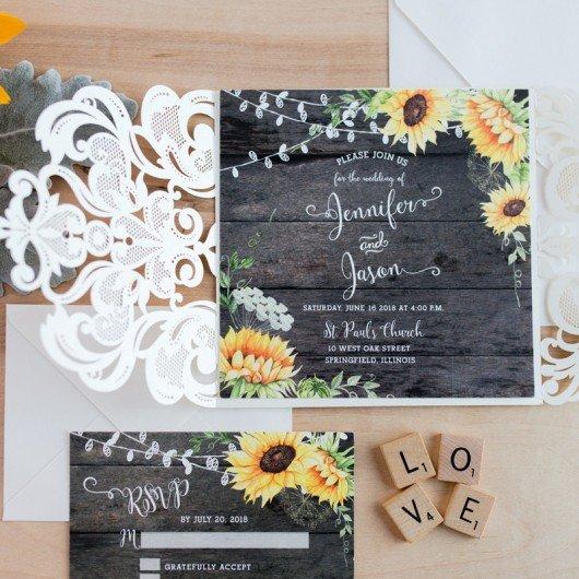 Rustic Wedding Invitation Background Rustic Watercolor Yellow Sunflower Barn Wood Wedding