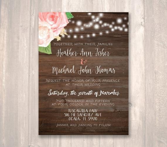 Rustic Wedding Invitation Background Rustic Wedding Invitation Roses Rustic Wood Background by