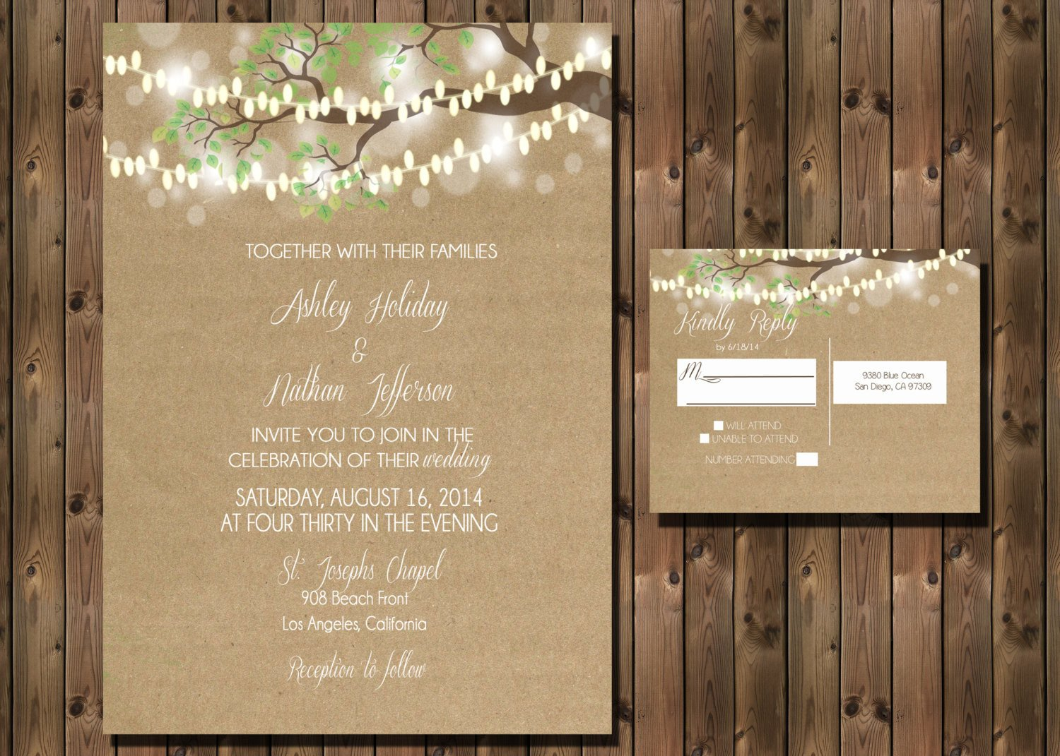 Rustic Wedding Invitation Background Rustic Wedding Invitation with Lights In Tree On Kraft