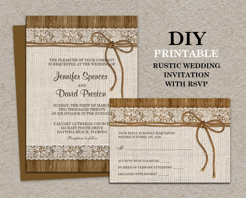 Rustic Wedding Invitation Background Rustic Wedding Invitation with Rsvp Card Printable Burlap