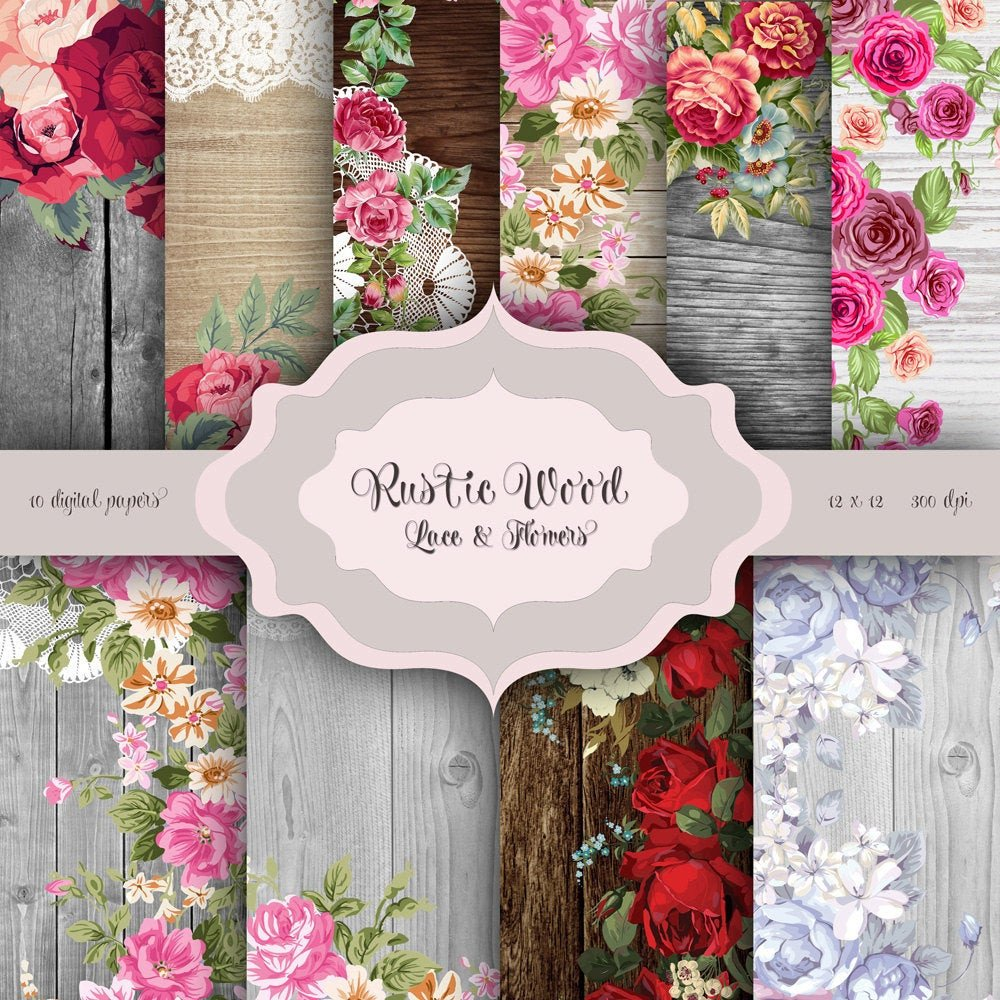 Rustic Wedding Invitation Background Rustic Wood Flowers & Lace Digital Paper Pack Wood