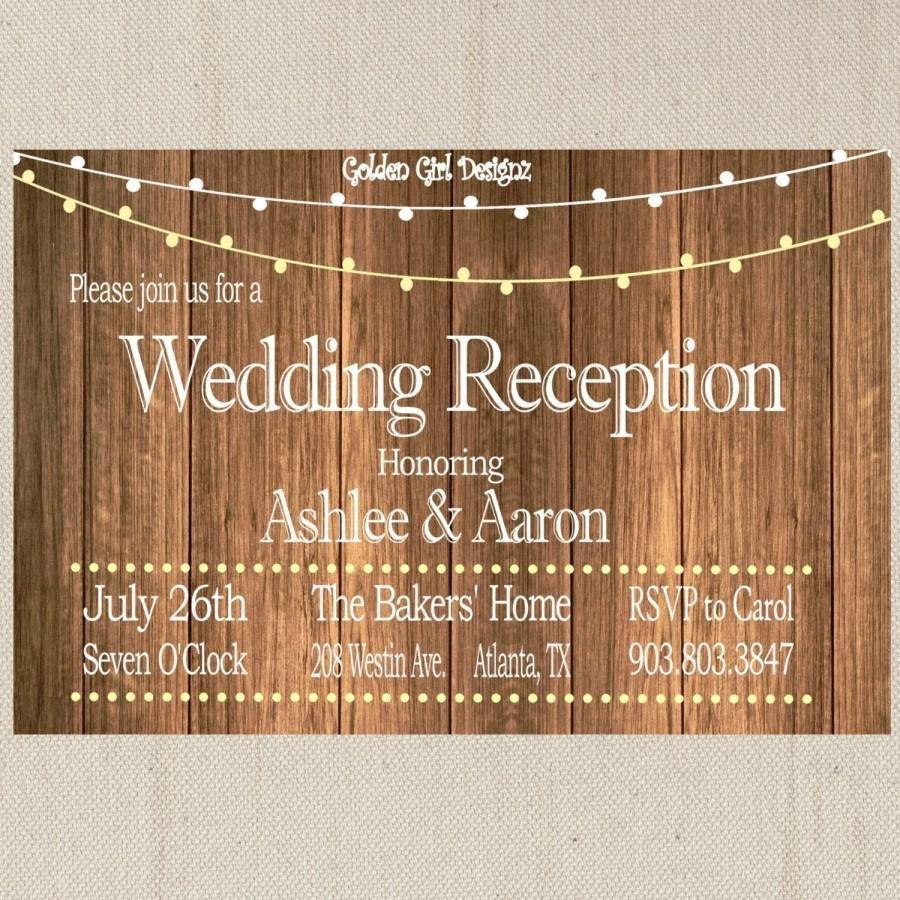 Rustic Wedding Invitation Background Vintage Lights Wedding Reception Invitation Wooden