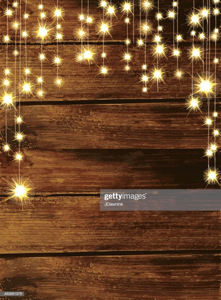 Rustic Wedding Invitation Background Wooden Background with String Lights Stock Illustration