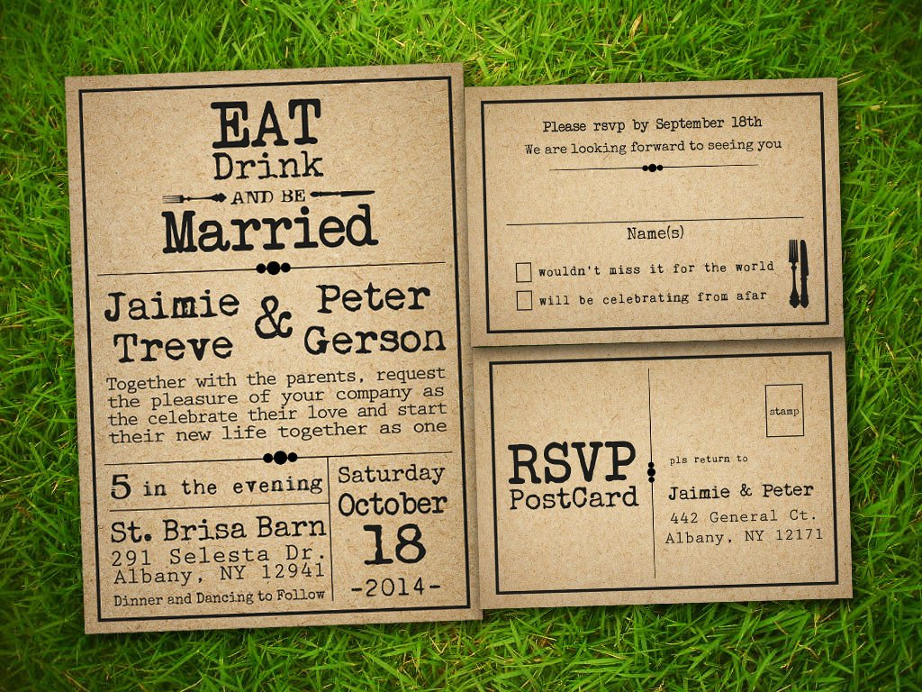 Rustic Wedding Invitation Templates Etsy Template1