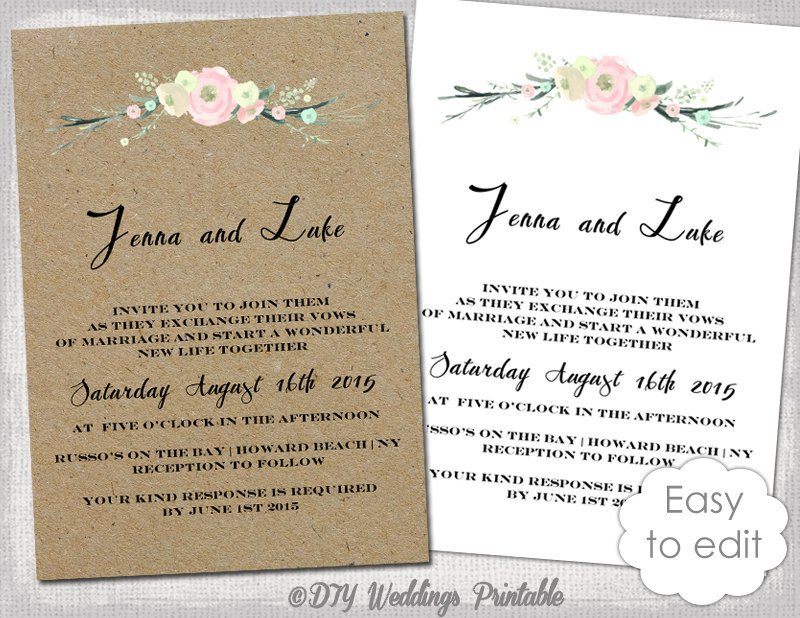 Rustic Wedding Invitation Templates Printable Rustic Wedding Invitation Template Rustic