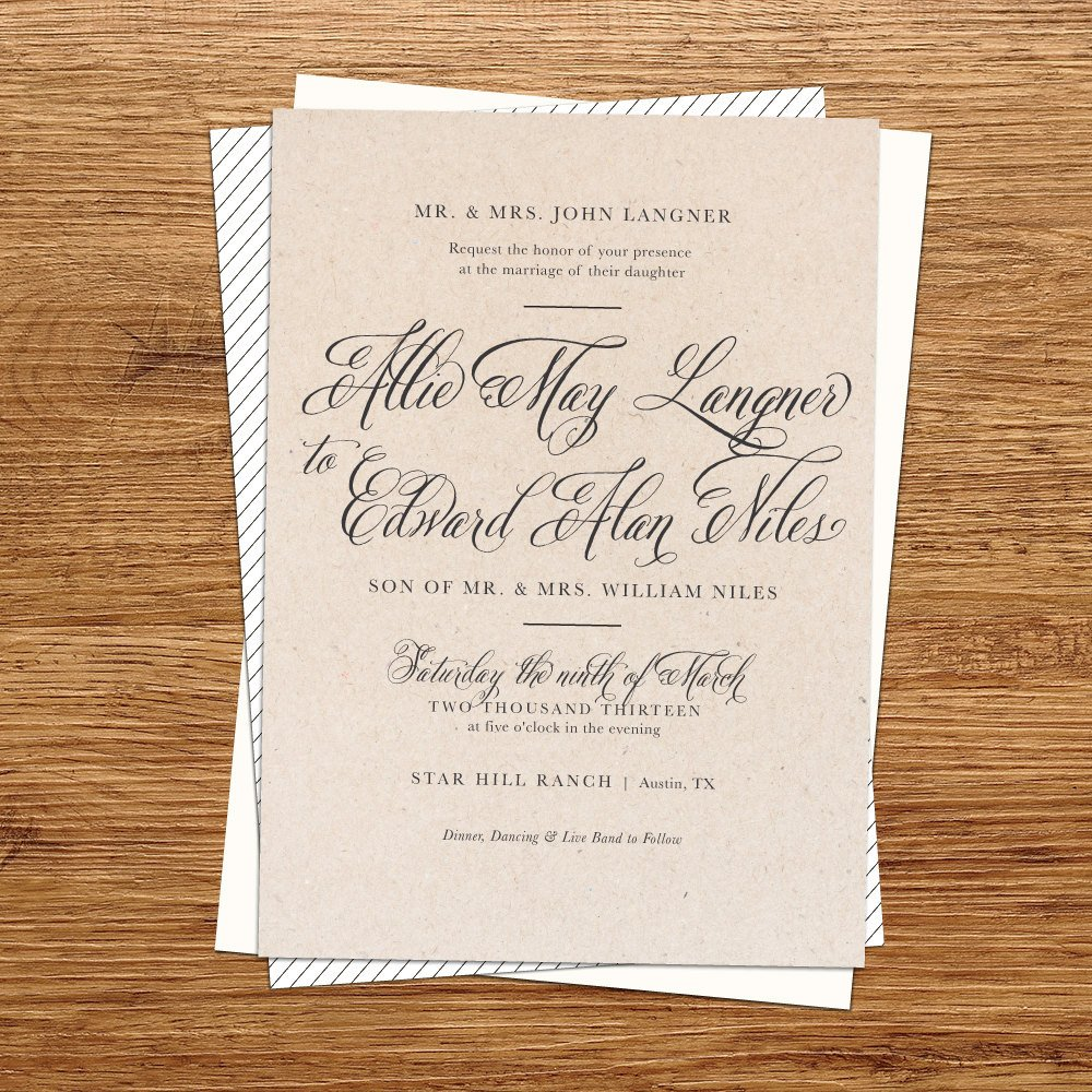 Rustic Wedding Invitation Templates Rustic Wedding Invitation Kraft Paper Wedding by Kxodesign