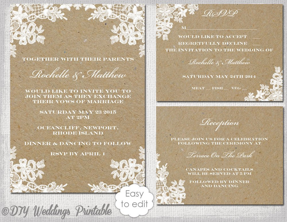 Rustic Wedding Invitation Templates Rustic Wedding Invitation Set Diy Rustic Lace