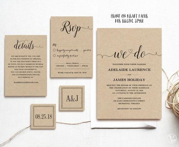 Rustic Wedding Invitation Templates Rustic Wedding Invitation Template 5 Piece by Vinewedding