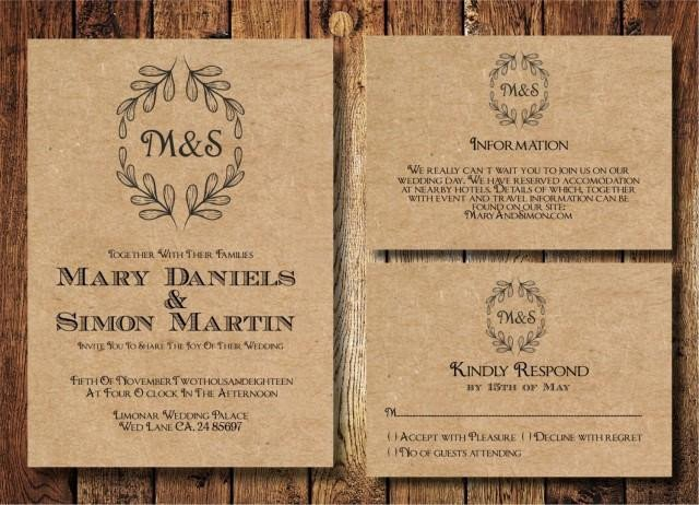 Rustic Wedding Invitation Templates Rustic Wedding Invitation Template Set Kraft Paper Wreath