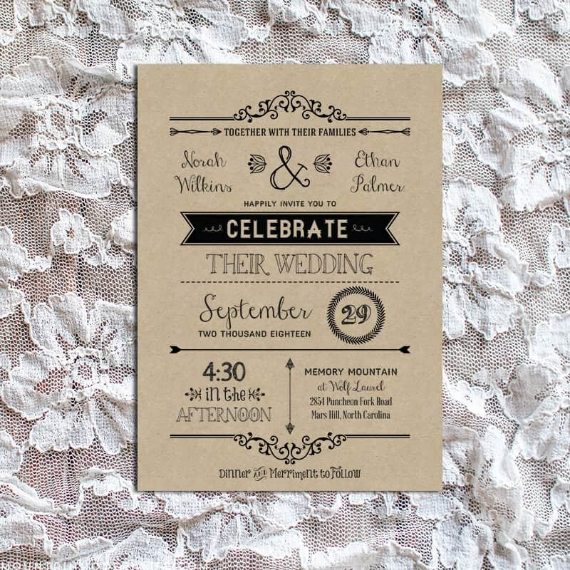 Rustic Wedding Invitation Templates Vintage Rustic Diy Wedding Invitation Template