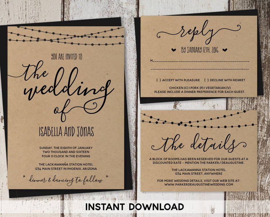 Rustic Wedding Invitation Templates Wedding Invitation Template Rustic Printable Set String