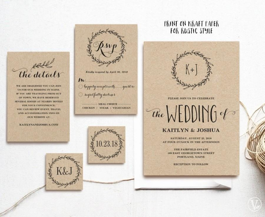 Rustic Wedding Invites Templates Classic Wreath Printable Wedding Invitation Template