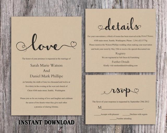 Rustic Wedding Invites Templates Diy Burlap Wedding Invitation Template Set Editable Word