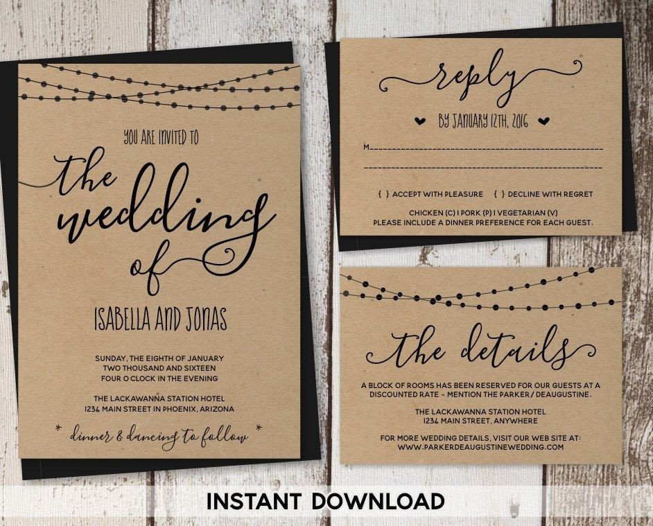 Rustic Wedding Invites Templates Pin by Instant Invitation On Wedding Invitation Templates
