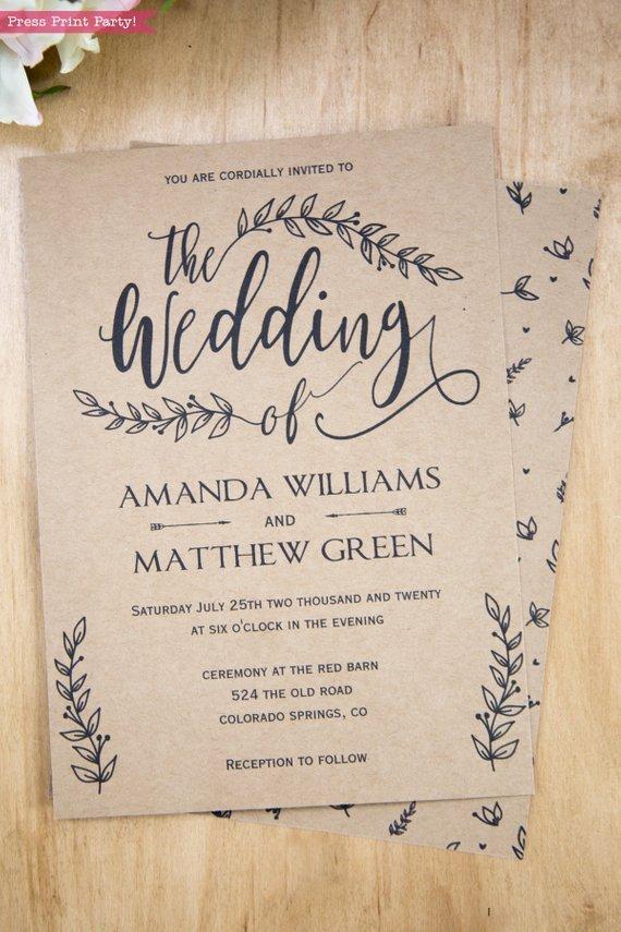 Rustic Wedding Invites Templates Rustic Wedding Invitation Printable Leaf Design & Decor