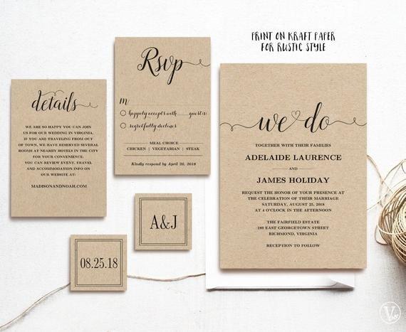 Rustic Wedding Invites Templates Rustic Wedding Invitation Template 5 Piece by Vinewedding