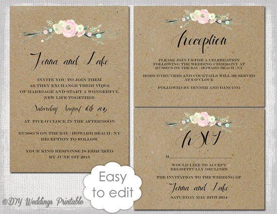"""Rustic Wedding Invites Templates Rustic Wedding Invitation Templates Diy """"rustic Flowers"""