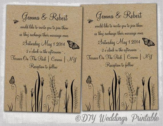 Rustic Wedding Invites Templates Rustic Wedding Invitations Template Editable butterfly