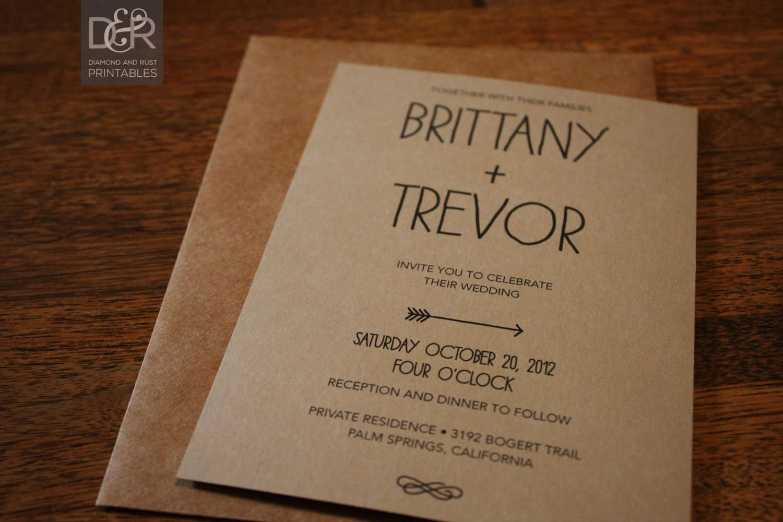 Rustic Wedding Invites Templates Rustic Woodsy Printable Wedding Invitation Suite by