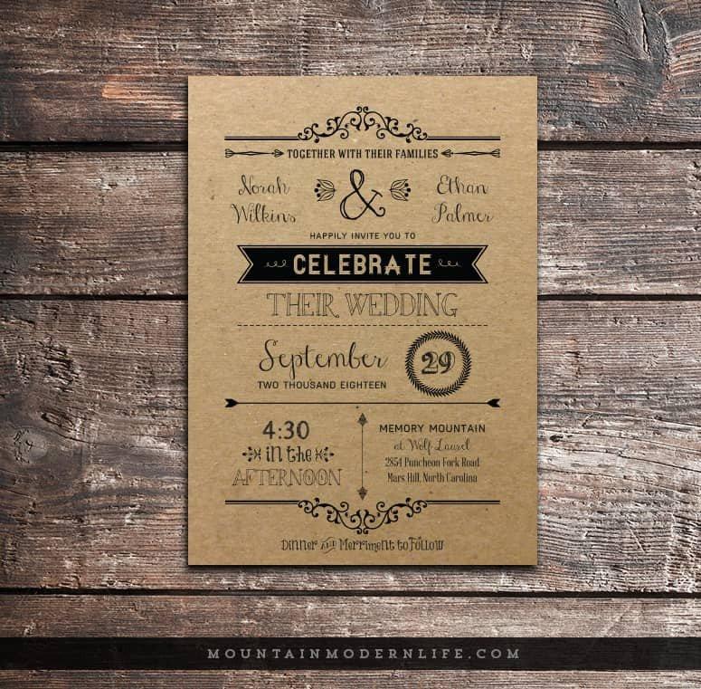 Rustic Wedding Invites Templates Vintage Rustic Diy Wedding Invitation Template
